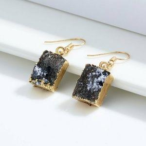 Natural Stone Crystal Resin Dangle Hook Earrings